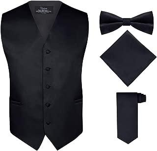 black tuxedo with white vest and tie