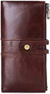 Men's leather cowhide wallet-double zipper clutch, credit card case wallet, with 12 credit card slots,18.5cmx9cmx 2.5 cm (...