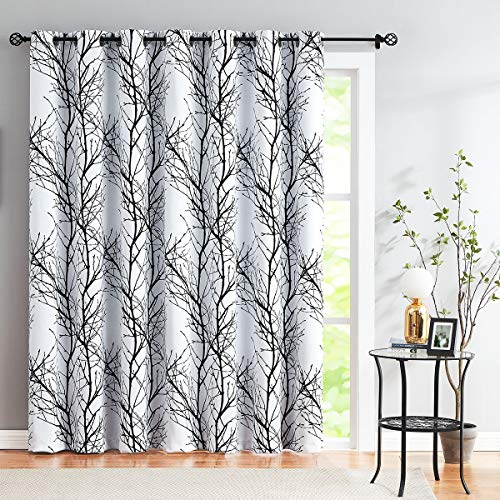 Black-White Blackout Curtains 100X84 Tree Branch Print Sliding Glass Door Curtains Thermal Insulated Window Covering for Living Room Bedroom Extra Wide Room Divider Curtain Drapes 1pc 7ft