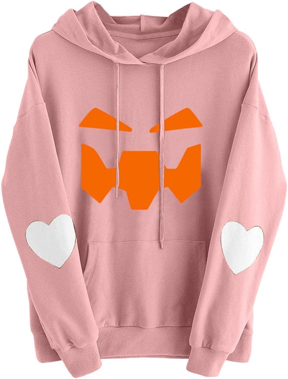 Sale price Halloween Hoodies for Women Pumpkin Face Print Free Shipping Cheap Bargain Gift Love Long Heart S