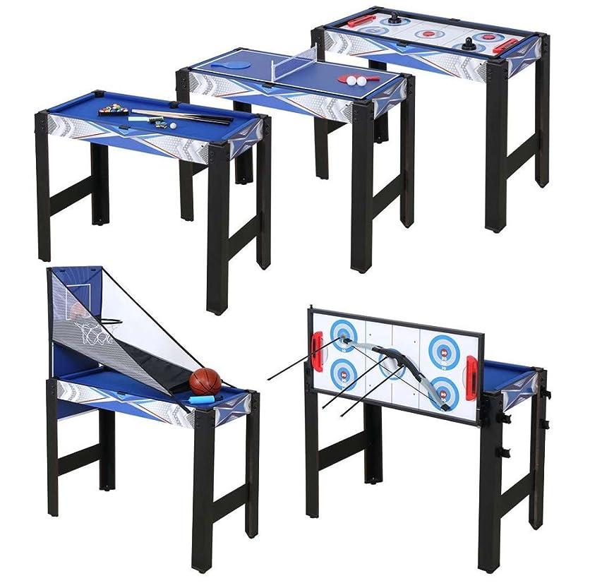 練習ボーナス狂人HLC 5in1 マルチテーブルゲーム 91.5×48×76cm テーブルテニス ホッケー ビリヤード バスケットボール アーチェリーゲーム