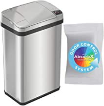 iTouchless 4 Gallon Sensor Trash Can with AbsorbX Odor Filter and Air Freshener, Stainless Steel 15 Liter Waste Bin for Ba...