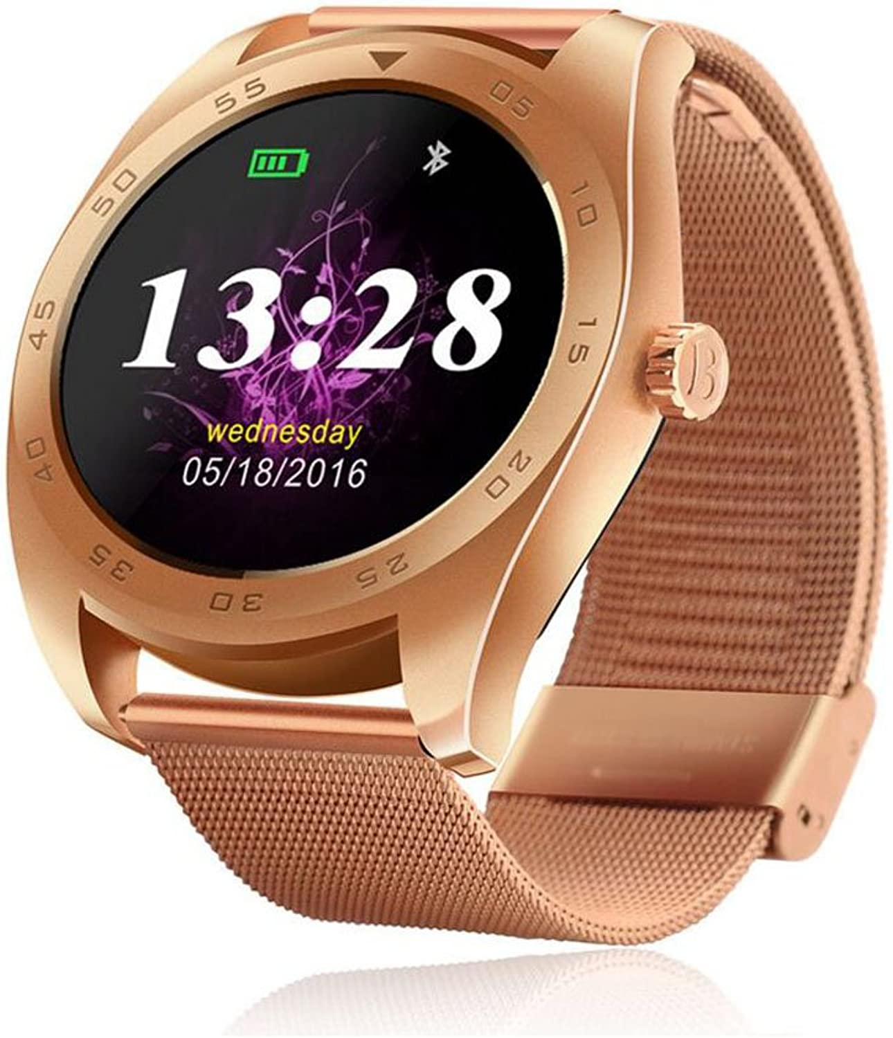 KLE Intelligente Uhr Blautooth Herzfrequenz Uhr Handy Touchscreen Smart Watch Sport Fitness Smart Watch (Farbe   Gold)