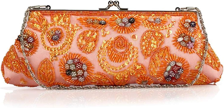 ULKpiaoliang Vintage Beads Women Clutch Bags Exquisite Soft Satin Women Shoulder Bag Embroidery Wedding Party Ladies Bag