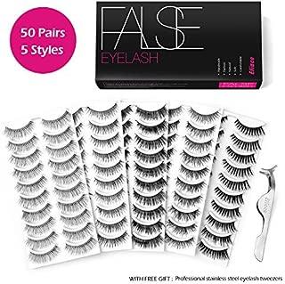 Eliace 50 Pairs False eyelashes 5 Styles Wispies Fake Eyelashes with Tweezers