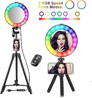 Selfie ringlampa 8 tum med 50 tums stativstativ cirkel LED-belysningskit telefonhållare och fjärrkontroll RGB regnbåge 14 ...