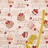 Hans-Textil-Shop Stoff Meterware Kuchen Cupcakes Cakes