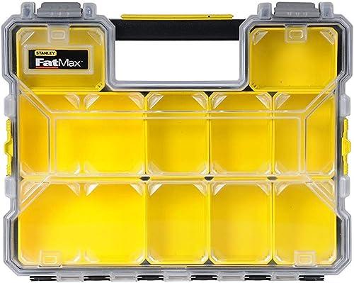 Stanley 1-97-519 Rangement Organiser Gamme FatMax - Etanche - Polycarbonate Incassable - 10 Compartiments Amovibles -...