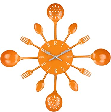 "Wall Clock, Timelike 16"" Metal Kitchen Cutlery Utensil Spoon Fork Wall Clock Creative Modern Home Decor Antique Style Wal"