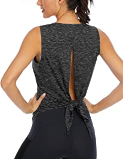 Fihapyli Workout Tank Tops for Women Yoga Shirt Sleeveless Open Back Shirts Tie Back Loose Fitting Tank Top
