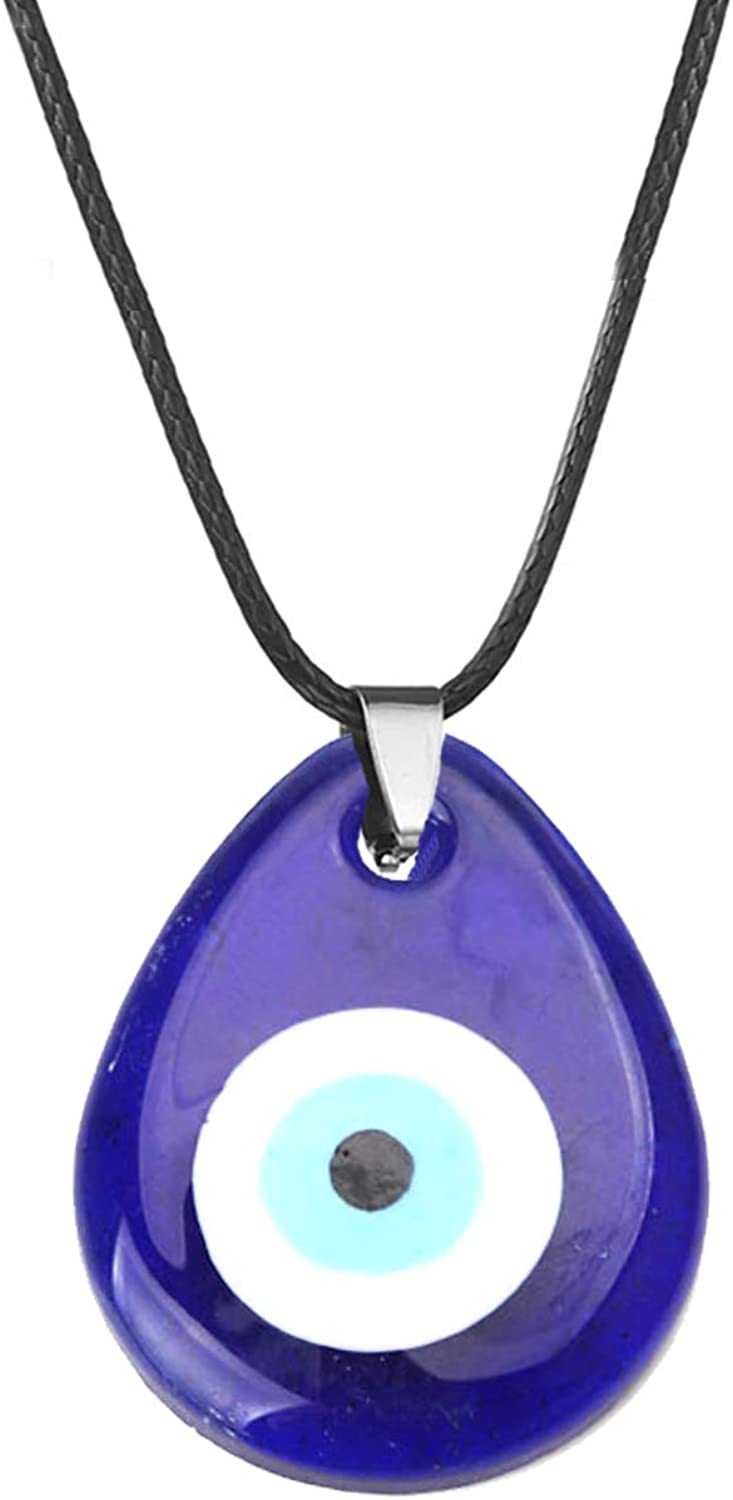 Evil Eye Pendant Necklace for Women Men Glass Leather Rope Chain Blue Turkish Protact Lucky Necklace
