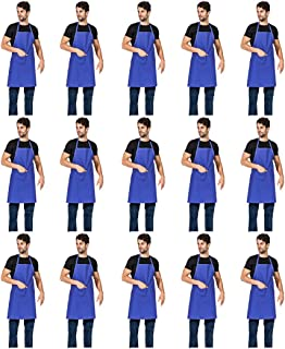 TSD STORY 15 PCS Blue Plain Bib Aprons for Women Men Adult Unisex with 2 Front Pockets - Chef Kitchen Cooking Grilling BBQ Baking Painting(Deep Blue,15pcs,28