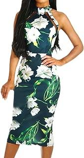 Bodycon Midi Dress Women Off Shouder Blooming Babe Floral Dip Hem Evening Dress Green