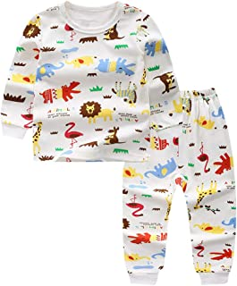Hopscotch Boys Cotton Animal Print Full Sleeves Tshirt and Pyjama Set in White Color
