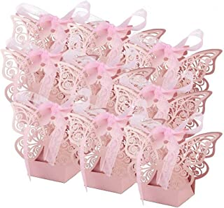 EBTOYS 50pcs Laser Cut Wedding Favors Candy Boxes Butterfly DIY Gifts Box with Ribbons for Wedding Bridal Birthday Shower Party Decors (Pink)
