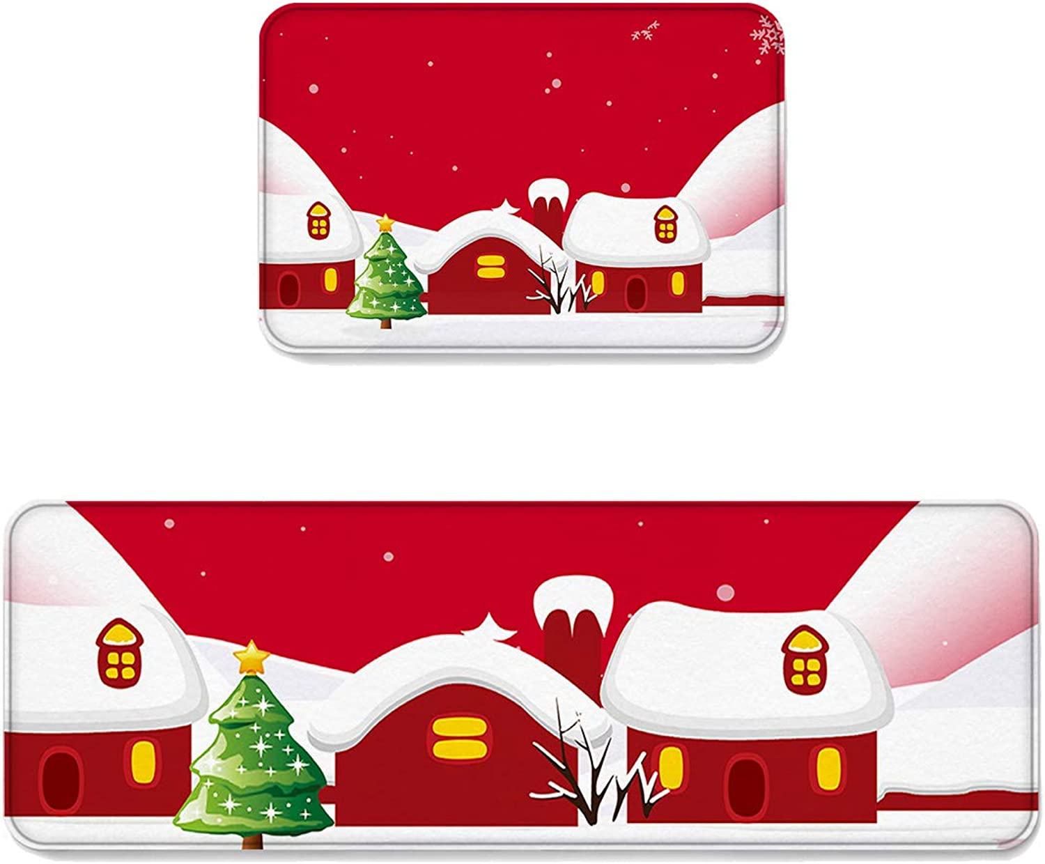 2 pcs Kitchen Mat Doormat Runner Rug Set, Kids Area Rug Bedroom Rug Non-Slip Rubber Backing Door Mats Merry Christmas Red Houses Covered by White Snow Design 19.7'' x 31.5'' + 19.7'' x 47.2''