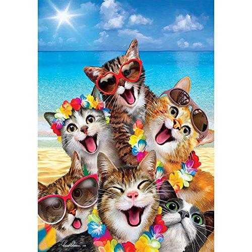 Playa diseño de gatitos–Tamaño estándar, doble cara, decorativa, con licencia y derecho de autor Bandera–impreso en Estados Unidos por Decoración personalizada Inc., 28x 40cm aprox.