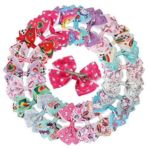 24pcs Lovely Colorful Printing Hair Pins Cute Bowknot Hair Clips Unicorn Bobby Pin for Kids Children