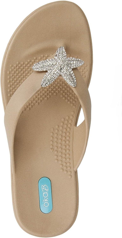 Oka-B Oliver Flip Flop Sandal shoes by OkaB color Chai with Crystal Starfish