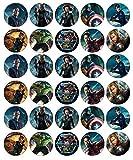 Avengers-Marvel Cupcake-Topper, essbares Oblatenpapier, Feen-Motiv, 30 Stück