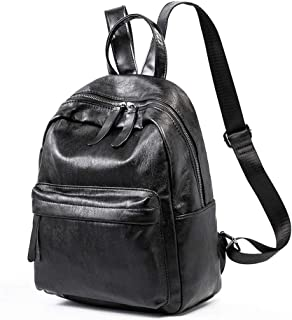 Xuan Yuan Backpack - Women's European and American Fashion PU Soft Leather Backpack, College Leisure Travel Bag, Large-Capacity Business Bag [Brown and Black] Backpack (Color : Black)