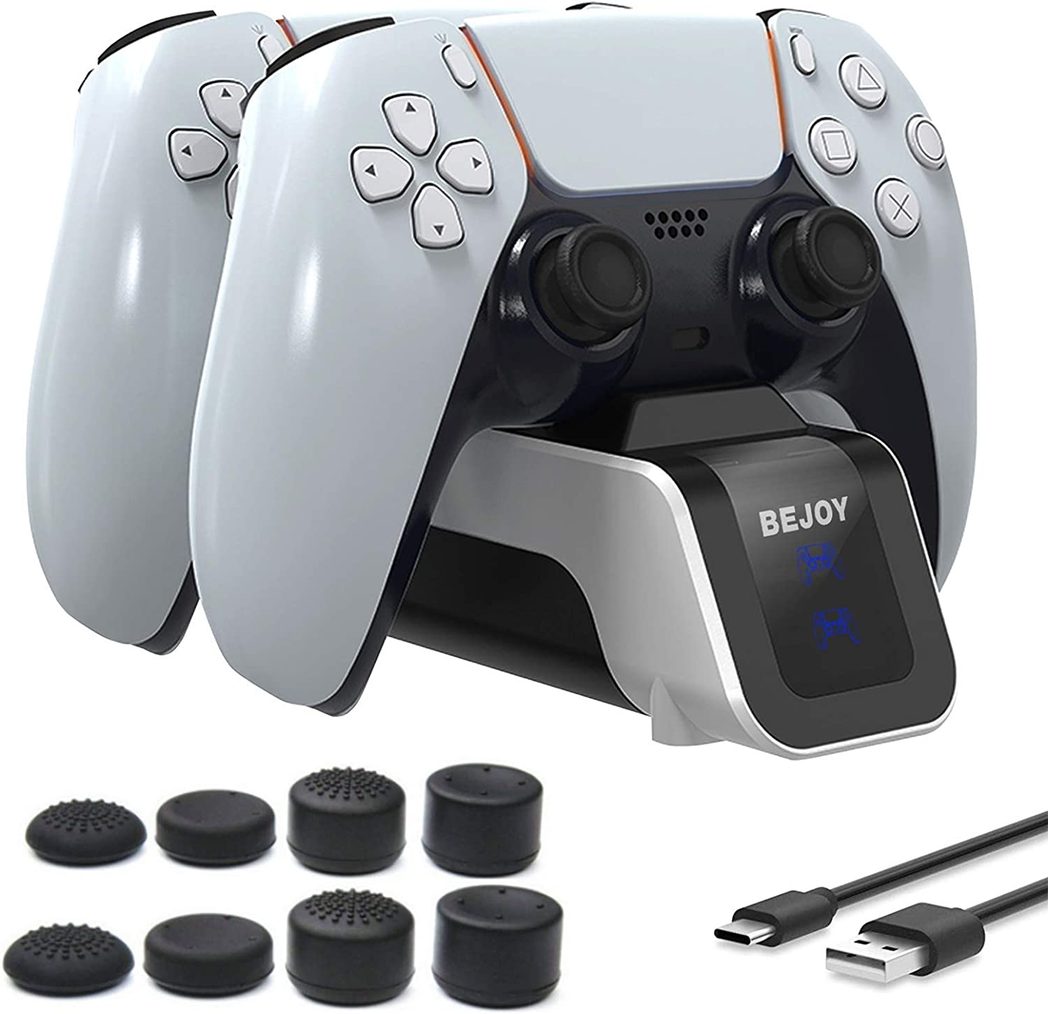 BEJOY PS5 Charging Station, Dual Type-C Controller Charger with