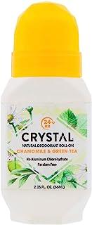 Crystal Essence Mineral Deodorant Roll-On, Chamomile & Green Tea 2.25 oz (Pack of 4)