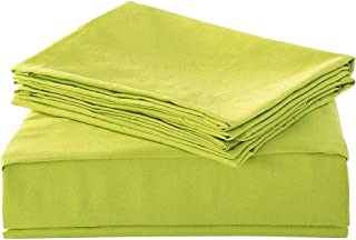 HollyHOME 1500 Soft Hypoallergenic Brushed Microfiber Bed Sheet Set, 3 Pieces Twin Size Sheets, Lime Green