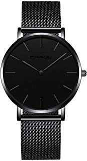 TCOINERY Mens Black Ultra Thin Watches Simple Minimalist Fashion Gent Business Dress Stainless Steel Wrist Watches Analog Quartz Waterproof Casual Watch Black