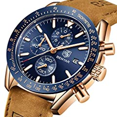 BENYAR Waterproof Chronograph Men Watches Fashion Casual Leather Band Strap Wrist Watch (Brown Blue) #1