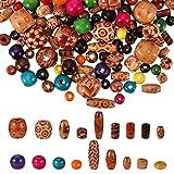 tiopeia 800 Stück Bunte Holzperlen Set Verschiedene Formen & Muster Perlen Kugeln für DIY Schmuck, Arts Crafts, Halskette, Armbänder