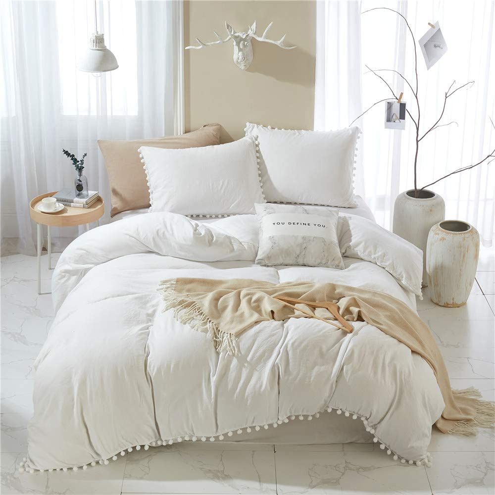 MWL Toy Pom High material Popularity Fringe Duvet Cover King 3 1 Pieces Size White
