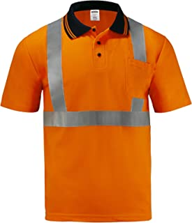 JORESTECH Safety Polo Shirt Reflective High Visibility Short Sleeve ANSI Class 2 Level 2 Type R PS-02 (S, Orange)
