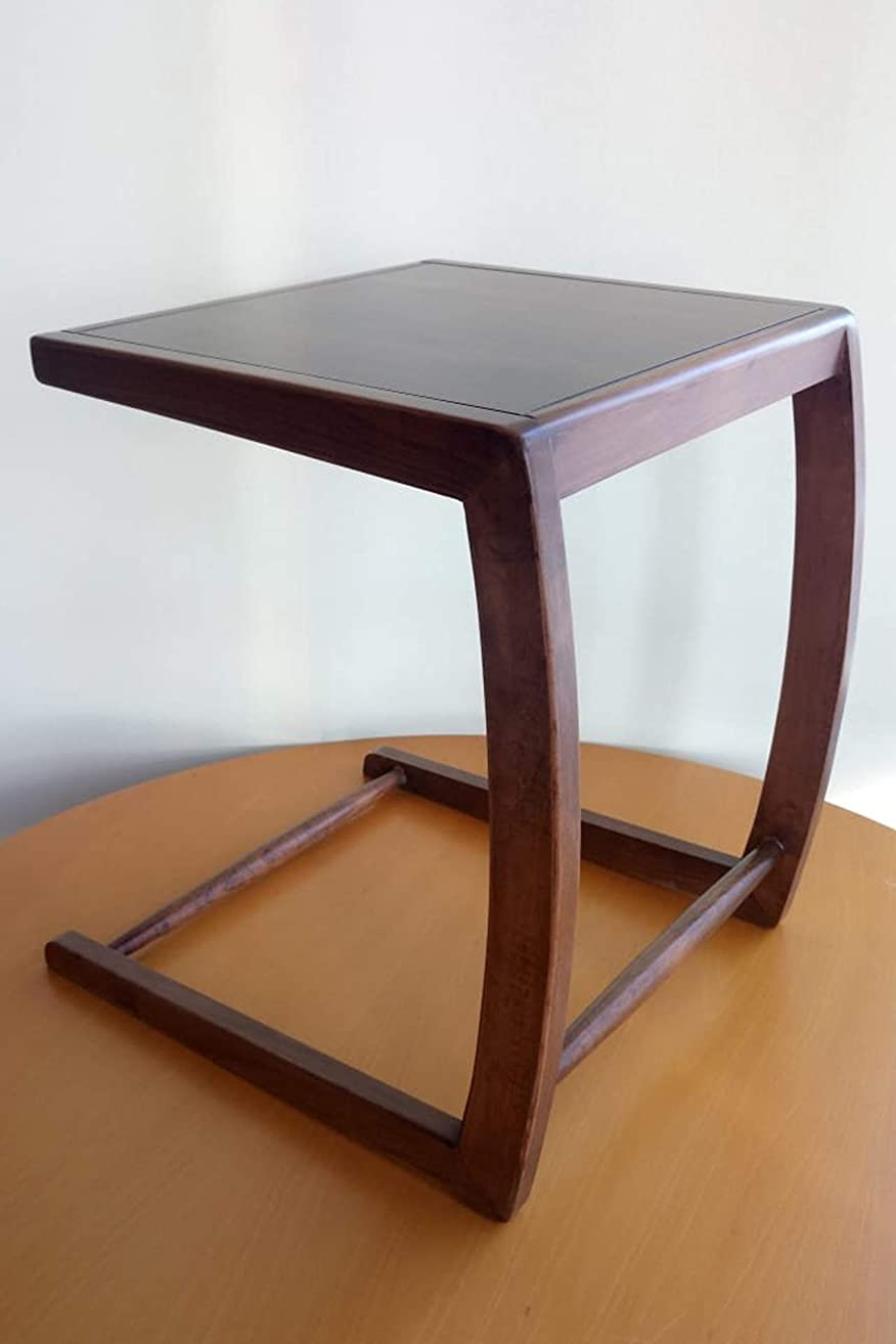Sofa end table, snack coffee laptop, bed side table slides into sofa with curved legs