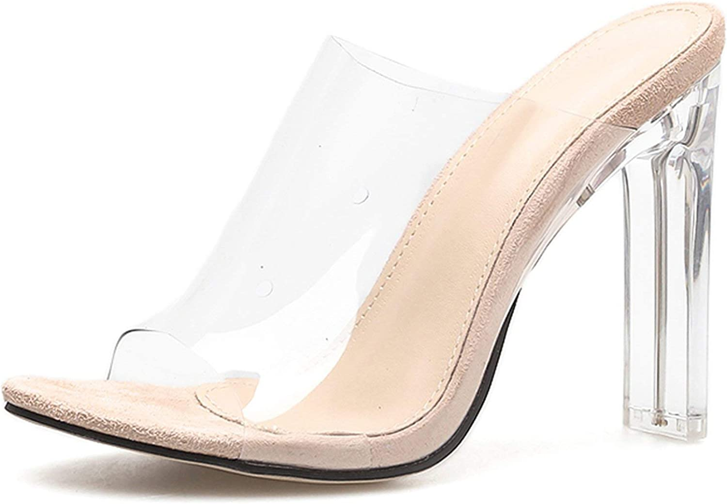 HANBINGPO 2019 New PVC Jelly Sandals Crystal Open Toed Sexy Thin Heels Crystal Women Transparent Heel Sandals Slippers Pumps,Apricot,5