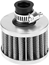 13mm Universal Car Clamp-On Cold Intake Air Filter, High Flow Auto Air Intake Filter Round Tapered for Scooter Atv Dirt Pit Bike Motorcycle Crankcase Vent Cover Breather(Silver)