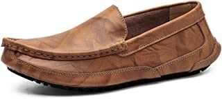 Ranipobo Driving Loafer Casual Low Top Slip On Solid Color Comfortable Round Toe Boat Moccasins for Men (Color : Light Brown, Size : 6.5 UK)