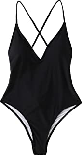 Women's Sexy Bathing Suits Solid Color Criss Cross Open Back One Piece Swimwear