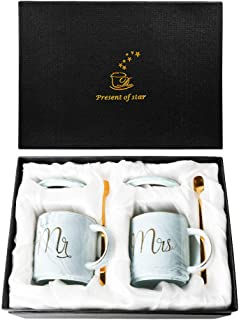 Momugs Mr and Mrs Couples Mugs Ceramic Coffee Mug Set with Gift Box- Unique Elegant Wedding Gift for Bride and Groom/Bridal Shower Engagement Wedding and Married Anniversary - Marble Design 11.5oz