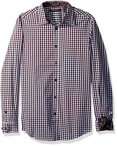 AXIST Men's Long Sleeve Check Woven Shirt, Winetasting, Large