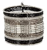 SPUNKYsoul Black, Silver and Gun Metal Cuff Bracelet for Women Collection (Silver/Black)