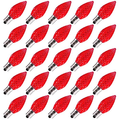 Brightown 25 Pack C7 LED Replacement Christmas Light Bulb, C7 Shatterproof LED Bulbs for Christmas String Lights, E12 Candelabra Base, Commercial Grade Dimmable Holiday Bulbs, Red