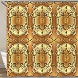 LISNIANY Duschvorhang 180x180cm Wasserabweisend Shower Curtain,goldenes florales Damastverzierungsmuster im Barockstil auf braunbeigen Farben