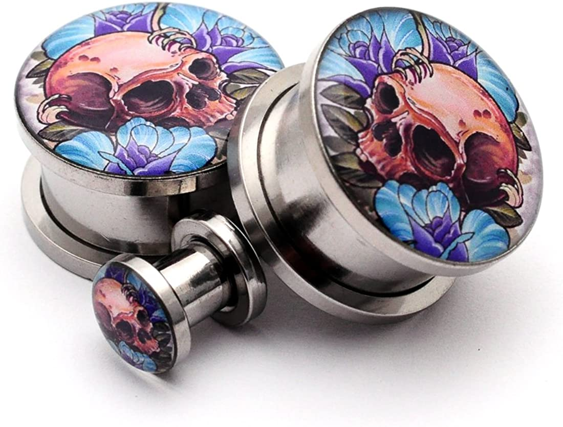 Screw on Plugs - Skull And Roses Picture Plugs - Sold As a Pair