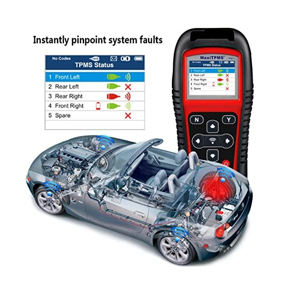 Autel MaxiTPMS TS501 TPMS Relearn Tool Automotive Scan Tool with Activate TPMS Sensors/TPMS Sensor Programming/Program… 3 【Upgraded Version of TS408, 2021 Newest】TS501 TPMS Tool can diagnose newest models up to 2020 with frequent updates. It packed ALL TPMS service options: TPMS programming(MX-Sensors), sensors Relearn/Activation, TPMS Reset and TPMS health diagnose, read sensor data, key fob frequency test. Please send VIN to : ❤Autelonline @outlook.com❤ CHECK COMPATIBILITY. 【TPMS Programming】 TS501 TPMS Programming Tool enables all car enthusiasts to program sensor data to Autel MX-Sensors with ease, saving you the money and trip to a dealership. With TS501, you can program AUTEL MX-Sensor (315/433MHz) with 4 programming options: Copy By Activation, Copy By Manual Input, Auto Create and Copy by OBD( Not available with TS408) to replace the faulty sensor with low battery life or one that is not functioning well. 【Relearn All TPMS Sensors】TS501 has added Relearn by OBD comparing with TS408. To turn off the TPMS warning light after replacement, you need to relearn the sensors to the vehicle! Autel TS501 TPMS Relearn Tool provides 3 ways of on-tool relearn precedures to relearn both OE and aftermarket sensors: Stationary Relearn, Automatic Relearn & OBD Relearn.