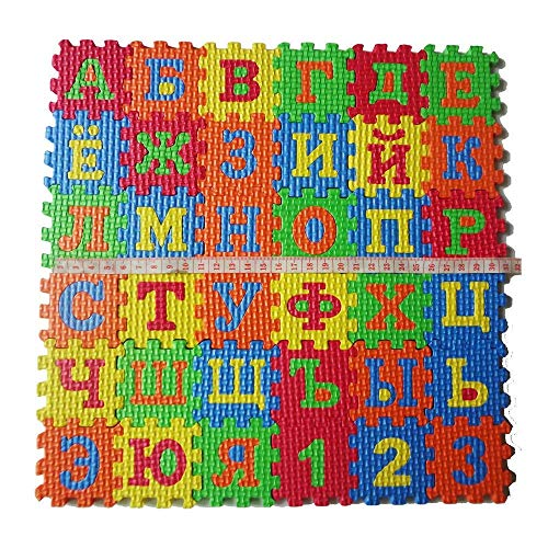 Vektenxi Premium Qualität 36 Teile/Satz Russische Alphabet Puzzle Teppich Eva Baby Kinder Puzzle Lernmatte Spielzeug