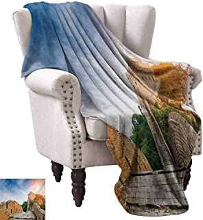 WinfreyDecor Great Wall of China Super Soft Blankets Legendary Dynasty Monument on Cliffs Historical Countryside Art Design Cozy for Couch Sofa Bed Beach Travel 60
