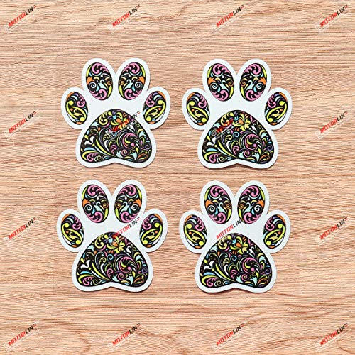 Dog Paw Print Track K9 Unit Vinyl Decal Sticker Floral Flowers - 4 Pack Reflective, 3 Inches - Style B for Car Boat Laptop Cup Phone