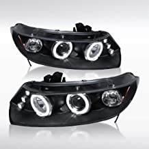Autozensation For Honda Civic 2Dr Coupe Black LED Halo Projector Headlights