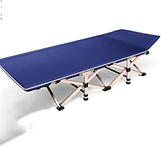 Loungers Folding Bed Single Bed Adult Bed Napping Recliner Office Simple Bed Camping Bed (Color : Blue, Size : 190 * 75 * 36 cm)